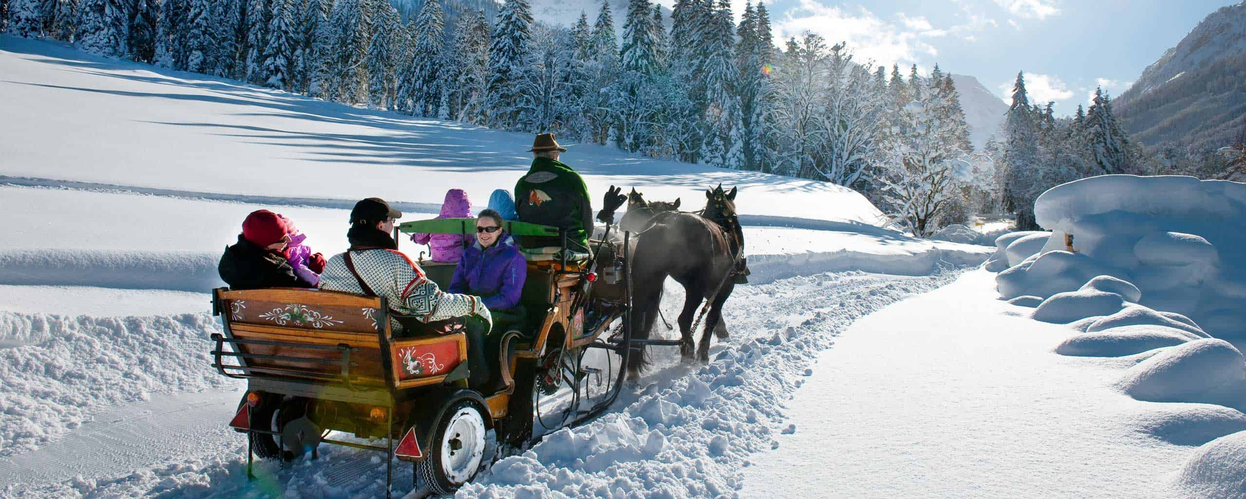 Idyllic horse-drawn carriage rides through the snow-covered landscape of Kleinarl.
